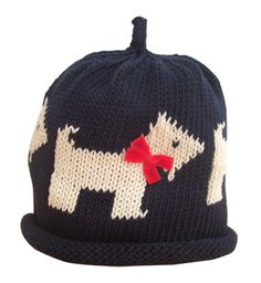 Scottie Dog Knitted Hat by UK designer Merry Berries. Price: £ 13.99