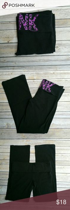 "Victorias Secret Black and Purple Yoga Pants Med Victorias Secret black knit yoga pants with purple PINK graphic on back roll waistband.  Graphic is leopard print with small studs all over.  Tag says SHORT medium.   In great condition.  Measurements: Length 35 1/2"" Inseam 30 "" 14 ""across front waist laying flat unstretched  #ravenkittystyle #vs #victoriassecret #yoga #yogapants #black #leopard #purple #blink #PINK #medium #gym #workout #casual Victoria's Secret Pants Track Pants & Joggers"