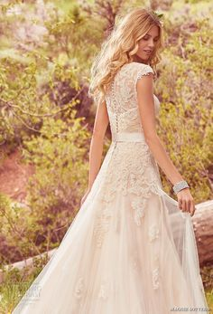 maggie sottero spring 2017 bridal cap sleeves jewel neckline heavily embellished bodice romantic a  line wedding dress lace back chapel train (lindsey marie) zbv