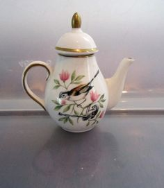 Vintage Miniature Spode England Bone China Teapot w/Bird on a Branch