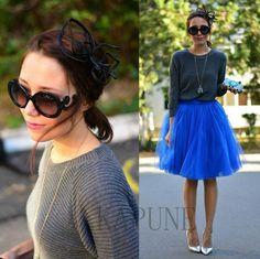 2016 Fashion Royal Blue Party Princess Skirts Women Lady Prom Dress Tulle Skirt