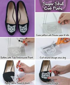 These sugar skull cat flats are perfect for the cat lover in your family! Follow this easy DIY!
