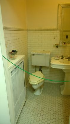 Original unrestored bathroom. 1897 Pleasant Home, designed by George Maher. Queen Anne's Revenge: a very Pleasant Home