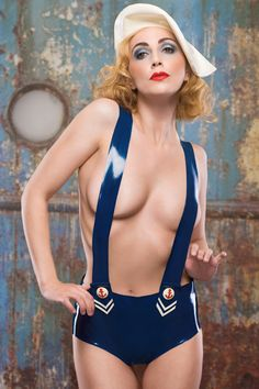 Latex Sailor girl Hotpants with braces on Etsy, 515:53 kr
