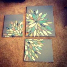 DIY Scrapbook paper wall art! Simple, Easy and Cheap!         Cute in the shape of a empty bent toilet paper roll