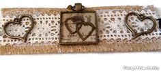 Hearts Burlap and Lace Bracelet Bronze by VintagePrimJewelry