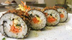 rolls di merluzzo e alga nori, senza glutine e latticini