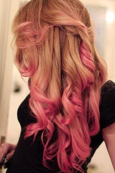 Blond hair with pink highlights
