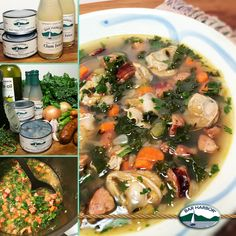 MEDITERRANEAN CLAM SOUP – Sauté ½ lb. Andouille sausage pieces in 1 Tbsp olive oil 3 mins., add 1½ cups chop onion, ½ cup ea. chop celery & carrots, 1 tsp. ea. minced garlic & dried thyme, ½ tsp blk pepper, pinch crushed red pepper, cook 5-6 mins. Add 2½ cups chop fresh kale; stir in 1 cup water, 2 (8oz.) Bar Harbor® Clam Juice, cover & cook 10 mins. Add 3 (6.5oz.) cans Bar Harbor® Whole ME Cherrystone Clams, 2 Tbsp chop fresh cilantro, ¼ cup chop fresh parsley, cook 5-6 mins. 4 Servings…