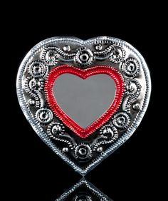 :D❤️TIN HEART WITH MIRROR WALL HANGING REPOUSSE SACRED MILAGRO MEXICAN FOLK ART M22