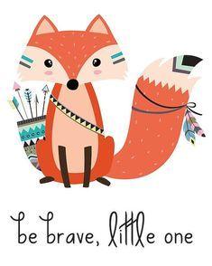 Fox Fox Illustration Tribal Nursery Print Be Brave Little One Be Brave Print Fox Art Tribal Art Animals Bohemian Wall Décor Nursery Baby Nursery Decor, Nursery Prints, Baby Decor, Drawing For Kids, Art For Kids, Tribal Fox, Tribal Animals, Nursery Patterns, Print Patterns