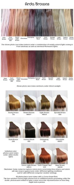 Arda browns, wig fiber color pallette.