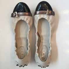 🌺HP🌺 Tod's Black Paton Cap Toe Flats Beautiful Tod's white Nubuck & black patent cap toe flats. Worn once indoors. Tod's Shoes Flats & Loafers