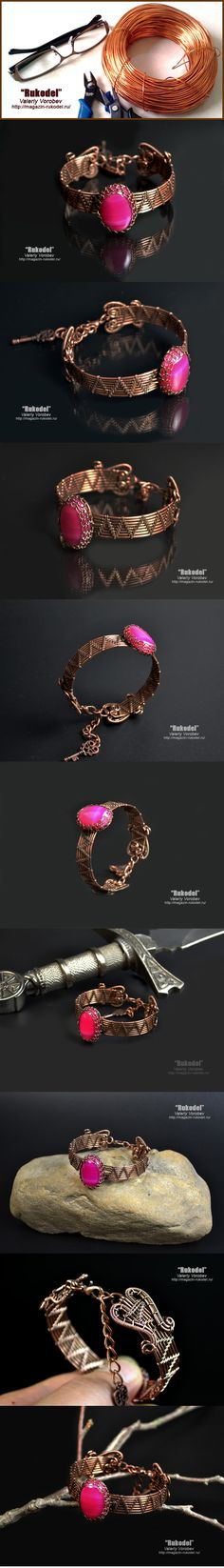 Wire Wrapped Bracelet, D - 190 mm + 40 mm The width of the bracelet - 120 mm Copper wire, Natural cabochon (Natural agate) - 25 x 18 mm