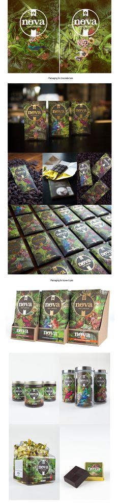 Packaging illustration for the rebrand of Colorado-based Nova Chocolate. Craft maker of single origin chocolate bars, blended bars, jar ganache, and truffles.