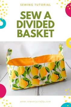 This divided basket is a simple sewing project that anyone with basic sewing skills can make.  It is a fun and functional sewing project that can be made in not time.  Use the step-by-step sewing tutorial to create your own divided basket. Teen Sewing Projects, Sewing Machine Projects, Diy Fashion Projects, Sewing Projects For Beginners, Sewing Tutorials, Knitting Projects, Sewing Ideas, Sewing Crafts, Diy Projects