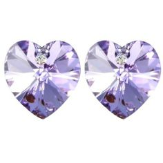 Crystal Heart 18k Gold Plated Heart Shaped Swarovski Crystal Stud Earrings - Amethyst Purple Dahlia. Save 67 Off!. $16.45. Intricate high polish creates glamorous reflections and adds a luxurious look to these earrings. This jewelry expresses love and affections through dazzling crystals. Dahlia offers Quality Guarantee to ensure your risk free shopping experiences. A beautifully designed jewelry package is included for an impressive gift presentation. Set with heart shaped authentic S...