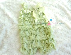 Mint Green Lace Petti Romper, rompers, baby girls petti Rompers, Photography props, Baby petti Rompers, Birthday outfit, Spring clothing. $19.99, via Etsy.