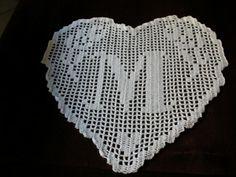 pattern crochet doily monogram heart letter M by CREAZIONIFIOPI, €3.00