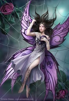 Art by Anne Stokes (Ironshod) Fairy Myth Mythical Mystical Legend Elf Faerie Fae Wings Fantasy Elves Faries Sprite Nymph Pixie Faeries Hadas Enchantment Forest Whimsical Whimsy Mischievous Foto Fantasy, Fantasy Kunst, Fantasy World, Dark Fantasy, Anne Stokes, Illustration Fantasy, Elfen Fantasy, Fairy Pictures, Gothic Fairy