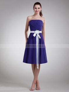 Desdemona - Una línea gasa vestido de damas de honor con faja