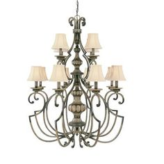Westchester 12-Light Chandelier   	These iron frames with a shapely combination of angles and curves are complemented by carved column parts finished in a rich, multi-layered Hand Rubbed Walnut (HRW). 	The neutral wood tones and overall traditional design will coordinate with a wide range of interior decors.