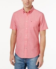 Tommy Hilfiger Men's Big & Tall Wainwright Short-Sleeve Oxford Shirt - Pink 3XLT