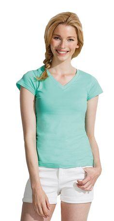 Dames t-shirt met korte mouwen en V-hals met brede rib boord    - 100% halfgekamd katoen  - grammage: 150 g/m2  - jersey  - ook verkrijgbaar in een heren model  - slim fit