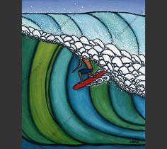Double Overhead Surf Art by Heather Brown Heather Brown Art, 3rd Grade Art Lesson, Art Sculpture, Hanging Canvas, Ocean Art, Summer Art, Art Plastique, Elementary Art, Teaching Art