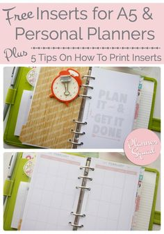 FREE Inserts for A5 & Personal Planners + Tips On How To Print - Planner Squad                                                                                                                                                                                 Más