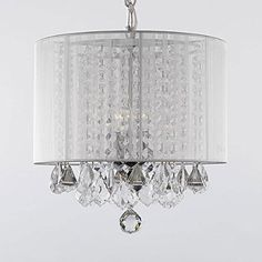 Drum Shade Crystal Chandelier – White Lampshade, Bedroom or Foyer, 3-light - http://ynueco.net/drum-crystal-chandelier-white-lampshade-bedroom-or-foyer-3-light/