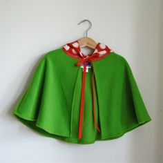 Woodland gnome hooded fleece cape for baby girls cape - Size 12 - 18 months