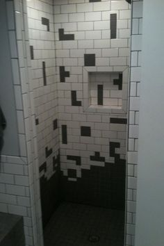 Tetris Tile. This would be so easy to do yourself. And I love it in the shower.