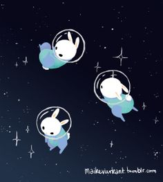 Illustration cute kawaii space butts bunnies digital art rabbits artists on tumblr spacebuns Maike Vierkant