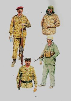 Iraqi Army, Invasion of Kuwait, 1991:  1: Infantryman, Republican Guard mechanised infantry;  2: Mulazim Awwal, Republican Guard tank unit;  3: Unknown officer, Republican Guard tank unit;  4: Infantryman, Mechanised infantry