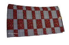 Burgundy & Grey Mesh Checkered Wax Prints African Ankara Fabric Per Yard