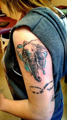 Elephant half sleeve tattoo with infinity symbol by script