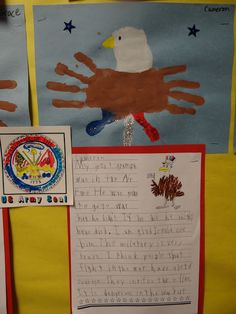 #Veteran's Day Activities -  we made American Eagles from #handprints! And we wrote about our #Veterans too! Pretty #Bulletinboard!