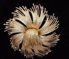 Vintage Monet Tassel Cordelia gold tone swirl firework brooch pin signed #Monet #Brooch