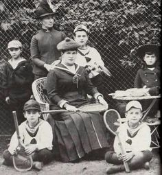 Grand Duchess Maria Pavlovna Romanova of Russia with her children and a nanny at tennis in 1889.A♥W