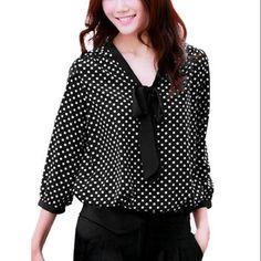 Ladies New Fashion Dots Prints Softness Black White Blouse M - Walmart.com