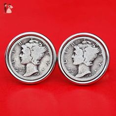 US 1917 Mercury Dime 90% Silver 10 Cent Coin Cufflinks NEW - Beautiful - Groom fashion accessories (*Amazon Partner-Link)