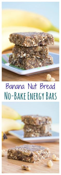 Banana Nut Bread No Bake Energy Bars - the flavors of your favorite quick bread .- Banana Nut Bread No Bake Energy Bars – the flavors of your favorite quick bread recipe in a sweet and healthy snack. Banana Nut Bread, Baked Banana, Banana Bars, Essen To Go, Healthy Lunchbox Snacks, Banana Energy, Healthy Bars, No Bake Bars, Energy Snacks
