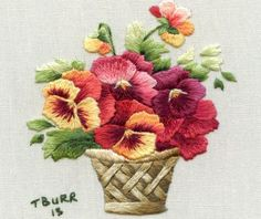 These vibrant autumn pansies in a basket are reproduced from a gorgeous postcard by artist Catherine Klein Vintage miniature embroidery is a collection of needle painting projects in miniature. Embroidery Shop, Silk Ribbon Embroidery, Crewel Embroidery, Cross Stitch Embroidery, Embroidery Patterns, Machine Embroidery, Pdf Patterns, Embroidered Roses, Brazilian Embroidery