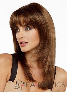 Shoulder Length Straight Human Hair Wigs With Bangs Human Lace Wigs, 100 Human Hair Wigs, Remy Human Hair, Remy Hair, Wigs With Bangs, Hairstyles With Bangs, Straight Hairstyles, Urban Hairstyles, Layered Hairstyles