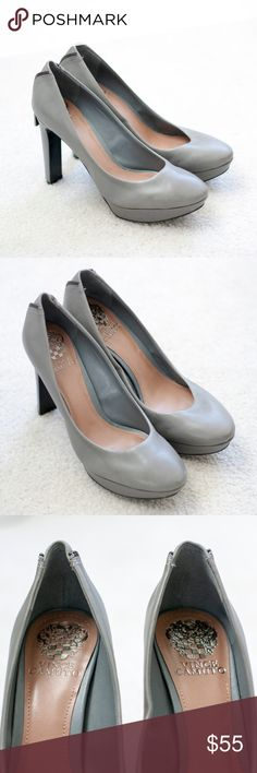 """NEW Vince Camuto heels gray size 8.5 Lovely gray heels from Vince Camuto. They are new and made of a buttery soft leather with faux zippers at back. Approx. heel height: 5"""" with a 1"""" platform (comparable to a 4"""" heel). Vince Camuto Shoes Heels"""