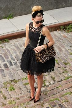 leopard print bag and shoes with lace dress