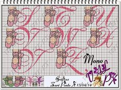 Apaixonada por Ponto Cruz: Monograma Ballet Cross Stitch Letters, Cross Stitch For Kids, Cross Stitch Charts, Mermaid Toys, Baby Monogram, Valentine Heart, Cross Stitching, Beading Patterns, Stitch Patterns
