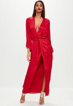 Missguided - Red Satin Plunge Kimono Maxi Dress