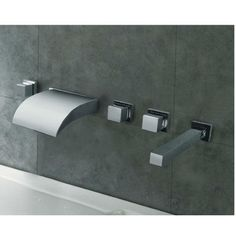 Wall Mount Led Waterfall Bathtub Faucet With Hand Held Shower Head